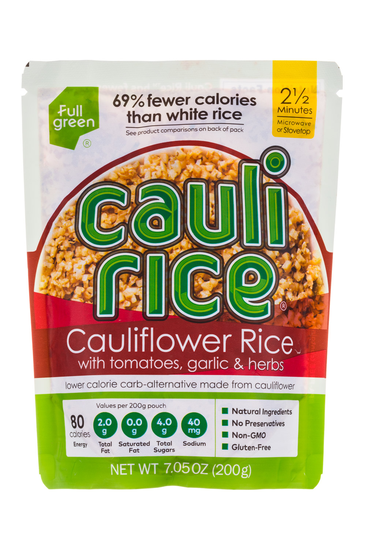 Cauliflower Rice with Tomatoes, Garlic and Herbs