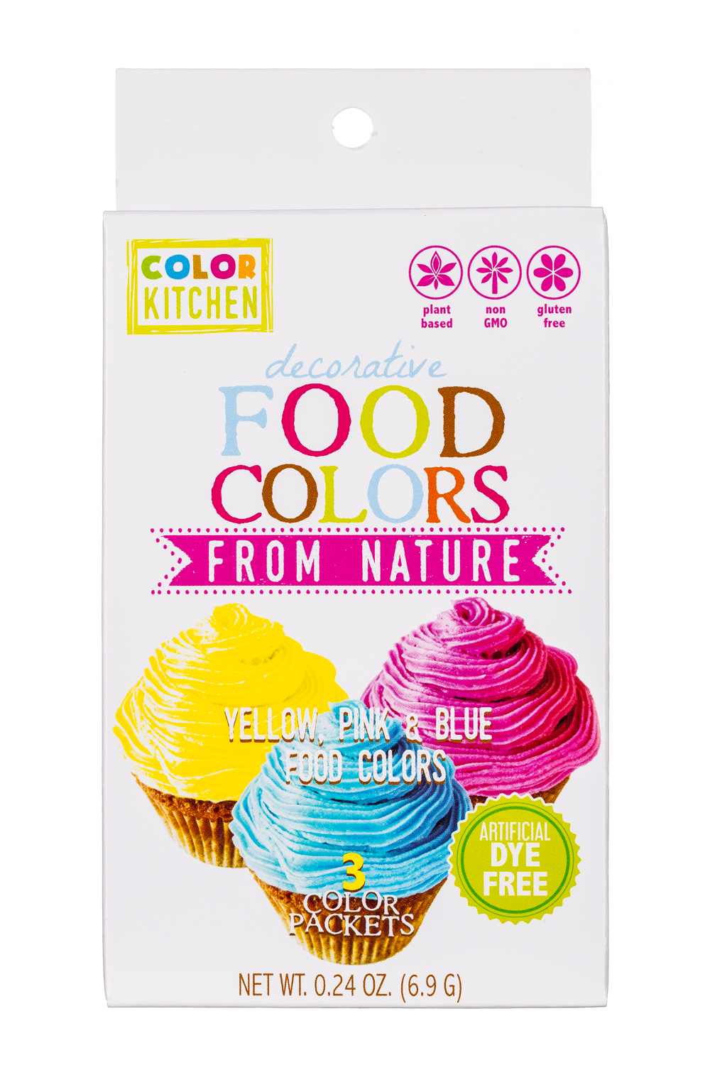 Decorative Food Colors- Yellow,Pink, & Blue