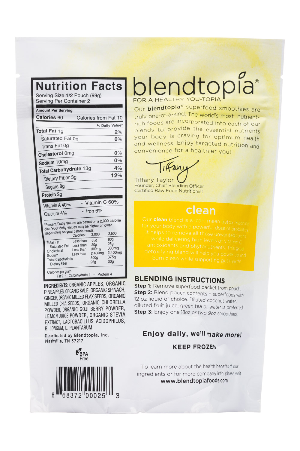 View Media | 9572 | Blendtopia-7oz-SmoothieKit-Clean-Facts | NOSH